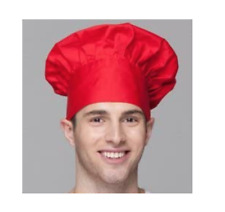 Chef Hat Adult Adjustable Elastic Baker Kitchen Cooking Chef Cap, Red H1