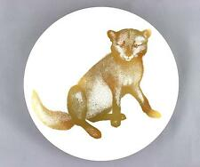 A Gustavsberg Paul Hoff arctic fox plate Swedish 1970's Gold & white