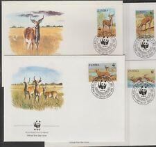 v1914 Sambia / WWF 1987 Rotwild  MiNr 438/41 auf 4 FDC