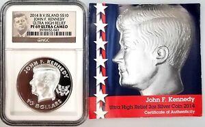 2014 British Virgin Islands $10 JFK, Ultra High Relief PF 69 Ultra Cameo by NGC!