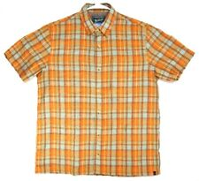 Woolrich Mens size L Shirt Short Sleeve Orange Outdoor Zip Up Pocket Vented