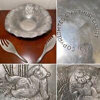 RARE Vintage 1989 ARTHUR COURT Cast Aluminum Panda Bamboo Salad Bowl & Tongs