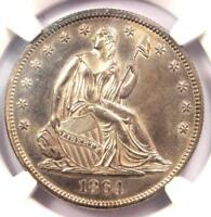 1864 Seated Liberty Half Dollar 50C Coin - NGC Uncirculated Detail (UNC MS)!