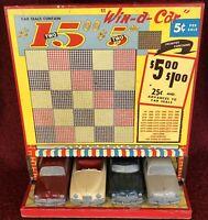 "RARE 1949 ""Win-A-Car"" Master Caster Packard Hudson Ford Punchboard Gambling Game"