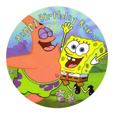 Spongebob Personalised Edible Birthday Party Cake Decoration Topper Round Image