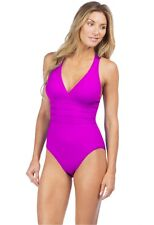 LA BLANCA ISLAND GODDESS MULTI STRAP ONE PIECE SWIMSUIT PINK SIZE 14 NEW! $119
