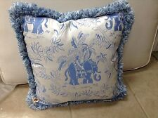 Frontgate Outdoor Patio Decor Chair Sofa Throw Pillow blue elephant fringe 17x17