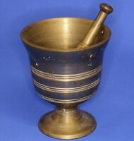 Antique Vintage India? heavy small brass pestle & mortar, 0.9kgs H:10cm *[17568]