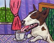 Bull terrier coffee art Print reproduction of painting 11x17 glossy gift