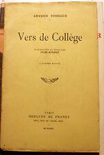 RIMBAUD/VERS DE COLLEGE/ED MERCURE DE FRANCE/1932/4EME ED/JEUX FLORAUX