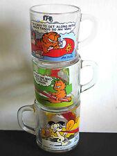 3 Anchor Hocking McDonalds 1978 Garfield & Odie Glass Coffee Mugs Vtg FREE SH