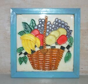 Old Vintage India Ceramic Fruits Bucket Painted Wall Porcelain & Pottery Tile