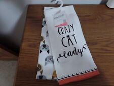 Envogue Crazy Cat Lady Kitchen Towels ~ Set 2 ~ 100% Cotton ~ NEW