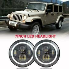 For Jeep Wrangler JK LJ TJ DOT 7inch Round CREE LED Headlight /w Halo Angle Eyes
