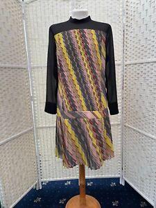 Karen Millen drop waist Pleated chiffon flapper multicolour dress size 12-14