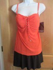 Magicsuit MIRACLESUIT SWIMSUIT 14 44 TANKINI 2 Piece Jezebel Orange Black Skirt