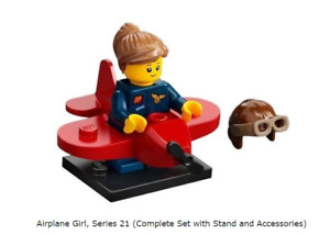 Lego Airplane Girl, Series 21 (Complete Set with Stand and Accessories)
