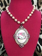 Tarina Tarantino Vintage Pink Head Hello Kitty Polka Dot Swarovski Necklace RARE