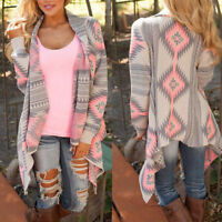 Women Cardigan Loose Sweater Long Sleeve Knitted Cardigan Outwear Jacket Coat #1