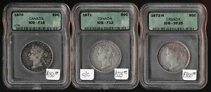 +NICE+ 1870 1871 & 1872H CANADA 50¢ (ICG FINE & VERY FINE) CV $675 USD > NO RSRV