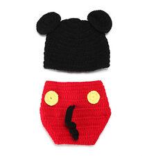 Baby Newborn Mickey Mouse Crochet Knit Costume Photo Prop Beanie Hat Diaper Set