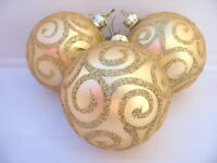 GISELA GRAHAM CHRISTMAS PALE MATT GOLD GLASS BALL WITH GLITTER FILIGREE X 3