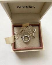 Pandora Silver Logo Pavé Circle Collier Necklace Size 45cm Ale S925
