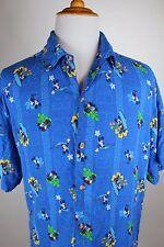 Disney Store Mickey Rayon Hawaiian Shirt Size Large Mens Bright Blue