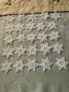 Crocheted Handmade Snowflake Ornaments - White -Set of 25 - Asst #52 -FREE SHIP