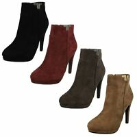 Ladies Spot On Slim Heel Ankle 'Boots'