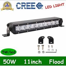 11inch 50W Single Row CREE Slim Led Offroad Light Bar Flood Boat 4WD Truck DEAL