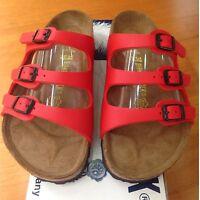 Birkenstock Florida 054741 size 39 U.S.8-8.5 R Red Birko-Flor Sandals