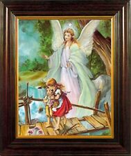 More details for guardian angel framed picture gold highlights protection picture wall hanging
