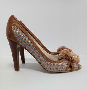 Enzo Angiolini Peep Toe Heels Leather & Jute Basketweave Size 7 Raffia Pom Woven