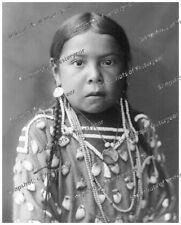 1900s era vintage photo-Crow Native American girl-papoose-beads-jewelry-8x10 in