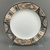 "Furio Home Indonesia White Brown Gray 10 7/8"" Dinner Plate Geometric Pattern"