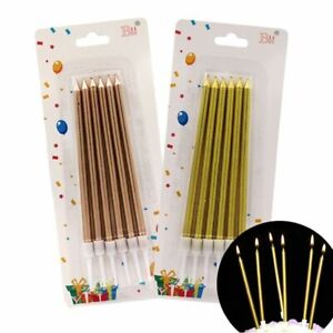 6Pcs Golden Long Pencil Cake Candles Safe Flames For Birthday Party wedding Cake