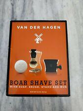 Van Der Hagen Traditional Shave Set With Soap, Ceramic Bowl, Boar Brush & Stand