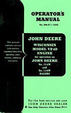 John Deere Hay Baler 114W 114-W 116W 116 Wisconsin VF4D Engine Operators Manual