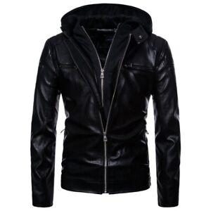 Men's Fashion Faux Leather Jacket w/Detachable Hood Black~Size large