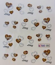 "Día de San Valentín destello de plata 3d Arte De Uñas Etiqueta ""Leopardo Corazones de"" agua calcomanías 095"