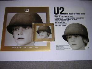 """ORIGINAL U2 CD ALBUM -THE BEST OF 1980-1990 + PROMOTIONAL 12""""X12"""" CARD + ACETATE"""