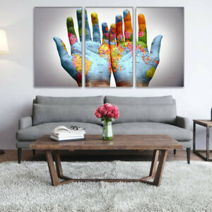 3 Panel World Map on A Pair of Hands Canvas Painting Wall Art for Home Decor