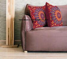 "Pillow Case Indian Cushion Cover Mandala Design Pure Cotton Boho Pouf Sham 18"""