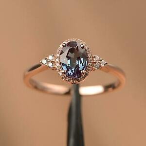 Alexandrite Ring Changing Color Oval Cut Gemstone 14k Rose Gold ring z309