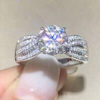 3Ct Round Brilliant Cut Diamond Solitaire Engagement Ring 14K White Gold Finish
