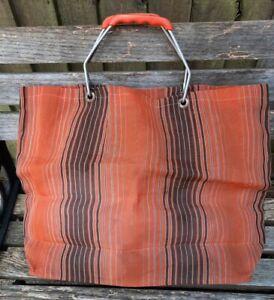 Vintage 60's 70's Nylon Shopping Bag - Orange & Brown