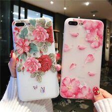 iPhone 7 8 6s Plus X 3D Blumen Case Handy Hülle Tasche Silikon Cover Schutz Etui