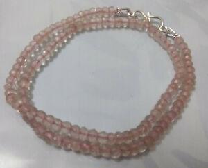 "Pink Rose Quartz Gemstone 4-4.5mm Beads 925 Sterling Silver 18"" Strand Necklace"