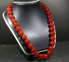 Pretty 12mm Red AGATE JADE Bead beads Beaded Necklace 20 inch